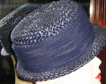 VINTAGE 1960's NAVY STRAW Topper by Mr. Lewis Retro