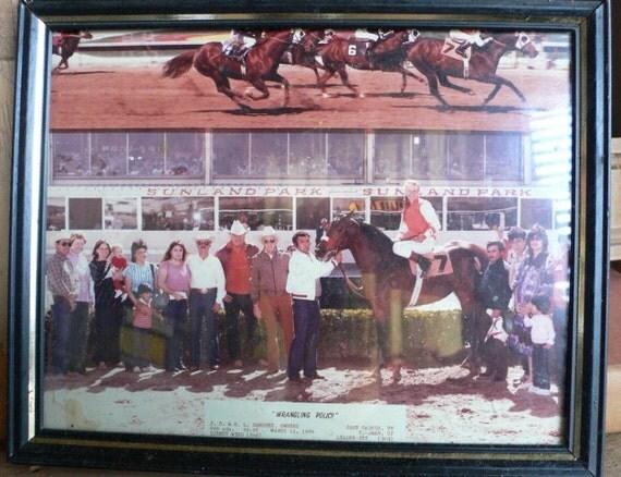 framed racehorse winner color photo female jockey 1984 Sunland Park New Mexico from Diz Has Neat Stuff