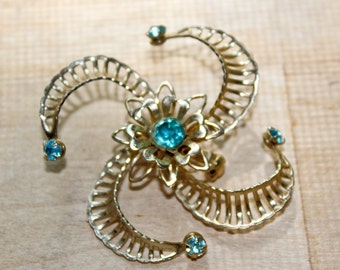 swirl aqua gold star flower gem jewel pin : brooch bouquet
