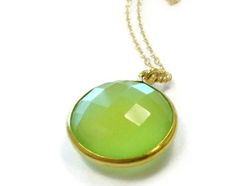 Lime Green Necklace - Gold Jewelry - Chalcedony Gemstone Jewellery - Modern Drop Pendant - Chain Fashion N-297 298 299