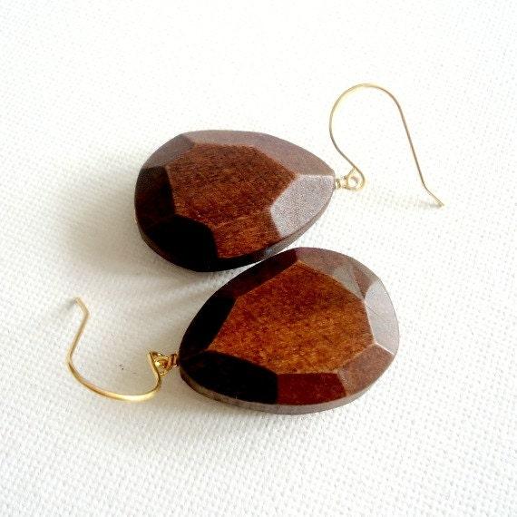 Wood Earrings Brown Earrings Geometric Faceted Jewellery Modern Boho Jewelry Teardrop Pierced Yellow Gold ER-164 165