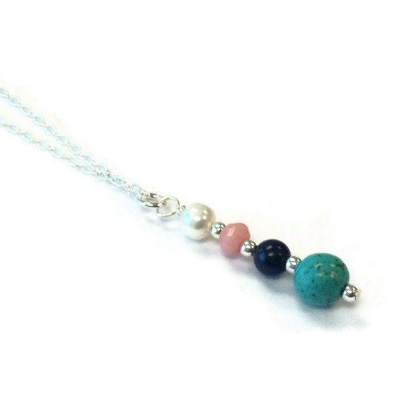 Gemstone Necklace - Pearl Turquoise Coral Lapis Jewellery - Sterling Silver Jewelry - Natural Gemstone - Chain Pendant N-328 329
