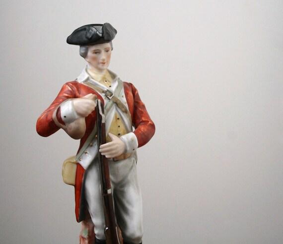 Soldier figurine, vintage porcelain figurine.