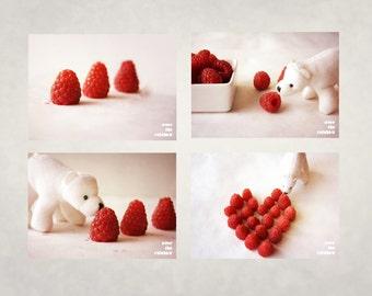 White Polar bear, Raspberries, Nursery Wall art, Set of 4 prints, Art for kids room, Food photography, Miniature art print, Baby shower gift