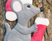 Santa Mouse Wood Carving, Whimsical, Wooden Wall Art,Folk Art,Holiday Decor,Hand Made in Ohio