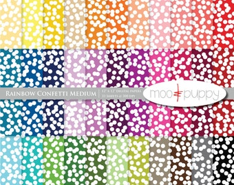 Mega SALE:   Digital Scrapbook Paper Pack  --  Rainbow Confetti Medium -- INSTANT DOWNLOAD