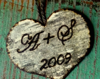 Personalized Our First Christmas Valentines Day Ornament  Rustic Wedding Decor BIRCH BARK HEART Custom