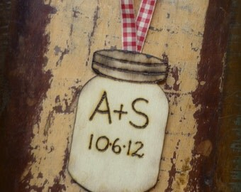Our First Christmas Ornament Personalized Mason Jar Rustic Wedding Decor