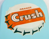 1950's Orange Crush Tin Advertisement Sign Termometer