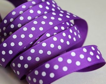 """5/8"""" Grosgrain Dotted Ribbon Purple with White Dots - 25 yard Spool"""