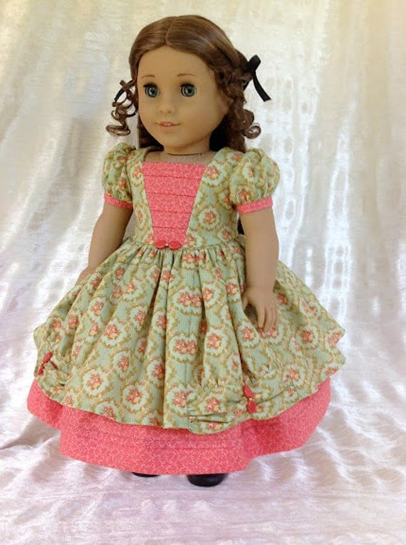 "1850's 2 piece gown and petticoat for 18"" American Girl doll"