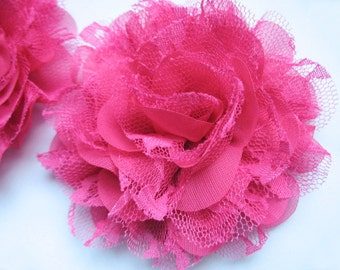 "5 Large 4"" Mesh Lace 4D Flower-Hot Pink D007"