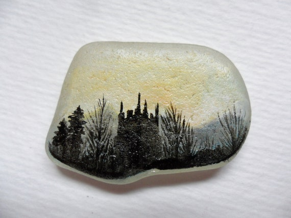 Sunrise country church - original acrylic miniature painting on pretty frosted English sea glass.