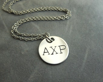 Greek letters, Custom hand stamped stainless steel necklace