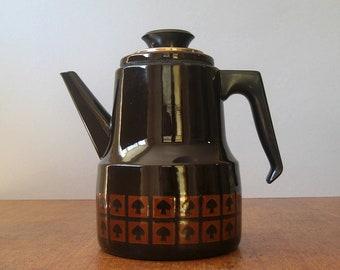 Vintage Enamel Kettle Tea / Coffee Pot - Chocolate Brown Finel Style