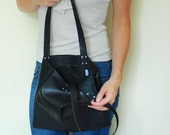 Small Black Leather Tote Bag
