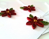 Red Christmas Gift Tags with Crimson Poinsettia