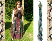 PEACOCK FEATHER Emerald Fairy yarn hair falls TASSELS for hip scarf & hair Fantasy extensions Tribal Fusion Belly Dance elf costume Larp