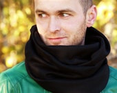 Cowl scarf - 100 %black  wool.
