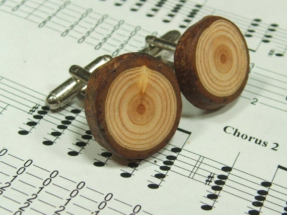 Handmade Wooden Cufflinks. Gift Boxed.  Spruce Organic, Eco Friendly Natural Wood Cufflinks