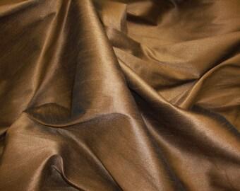 Tobacco  Shantung Dupioni Faux Silk fabric per yard