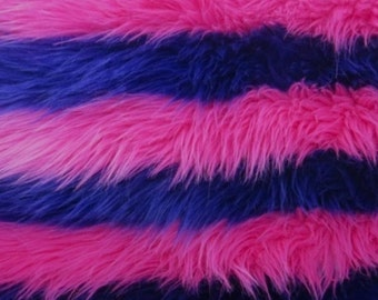 Fur Faux fake Purple and pink stripe shaggy faux fur long pile upholstery custome fabric per yard