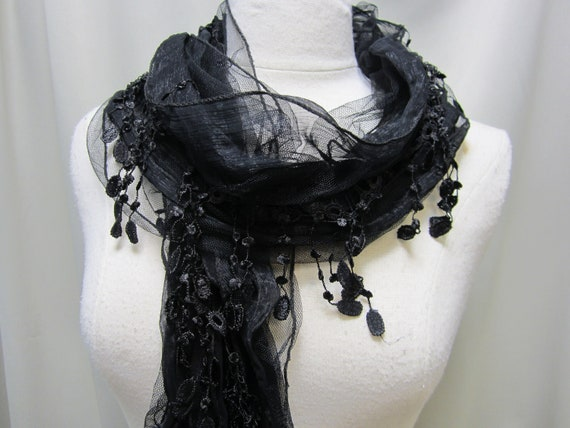 NEW BLACK shear netting venise lace scarf / delicate scarves for Holidays gifts under 20 stocking stuffers  women by Catherine Cole Studio