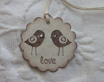 Set of 12 Scalloped Birdie Love Tags With Rhinestone Eyes -  Favor Gift Tags - Party Tags - Wedding - Bridal Shower