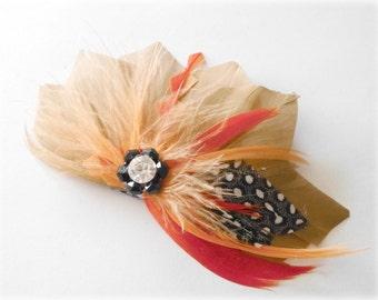 Feather Fascinator, Head Piece, Feather Hair Clip, Feather Accessory, coral, peach, burnt orange, bridesmaid hair accessories