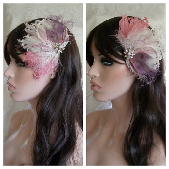 Wedding Feather Hair Accessory, Feather Fascinator, Bridal, Hair PIece, Peacock, Purple,Pink, Feather, Hair Clip