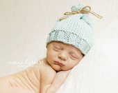 "Organic cotton - ""Weston"" Jute Tie Sack Hat. Newborn."