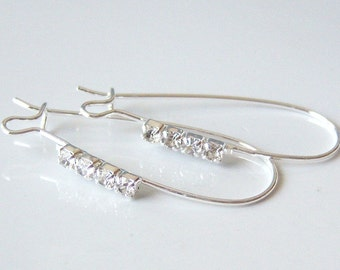 4 Pairs of Silver Plated Brass Elegant Kidney Earwires With Clear Sparkling Rhinstones, 15x35mm