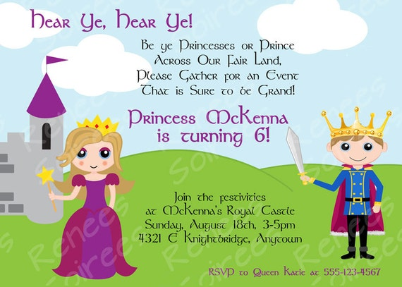 PRINCE Princess or PRINCESS KNIGHT Printable Invitation – Princess and Knight Party Invitations