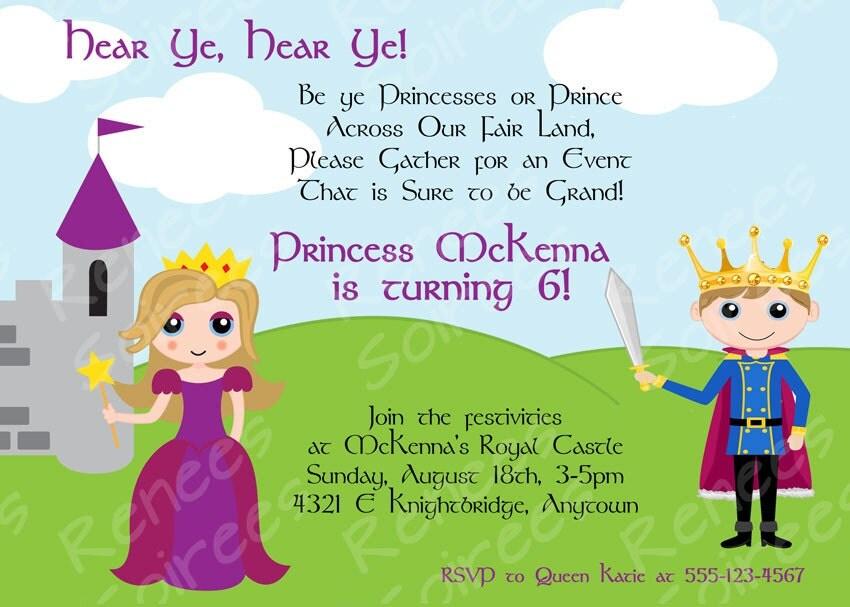 PRINCE Princess or PRINCESS KNIGHT Printable Invitation – Prince Party Invitations