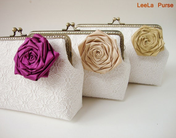 Custom bridesmaid gift, personalize your own wedding clutch purse - Set of 3 Lace Clutches with Fig Camel Antique Gold handmade Silk Roses