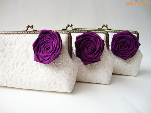 Reserved for  carriewhallon - 9 Lace clutches with personalize message labels