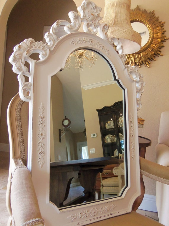 vintage shabby chic large white wall mirror large and ornate. Black Bedroom Furniture Sets. Home Design Ideas