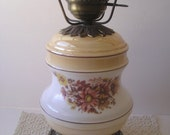 1970's Hurricane Lamp Luster Finish Floral Earth Tones