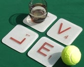 Fused Glass Scrabble Tile Coasters