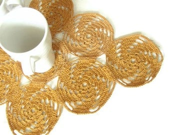 Crochet Mustard / Sand Table runner