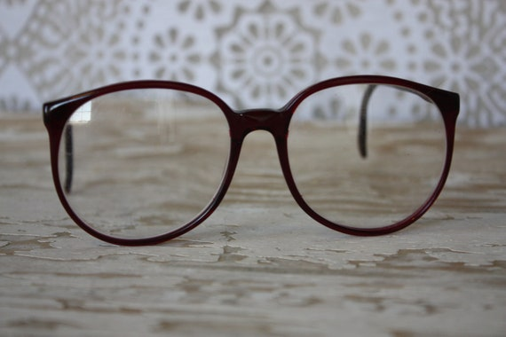 Vintage 1980's Cranberry Red Oversized French Eyeglasses
