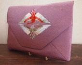 SALE! was 35 dollars - Japanese vintage kimono/Obi fabric crane embroidery purple clutch bag - Nishijin-brocade Kyoto