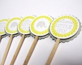 Baby Shower Cupcake Toppers -Grey and Yellow - Elephant - Handmade  - Shower Decorations - Set of 12