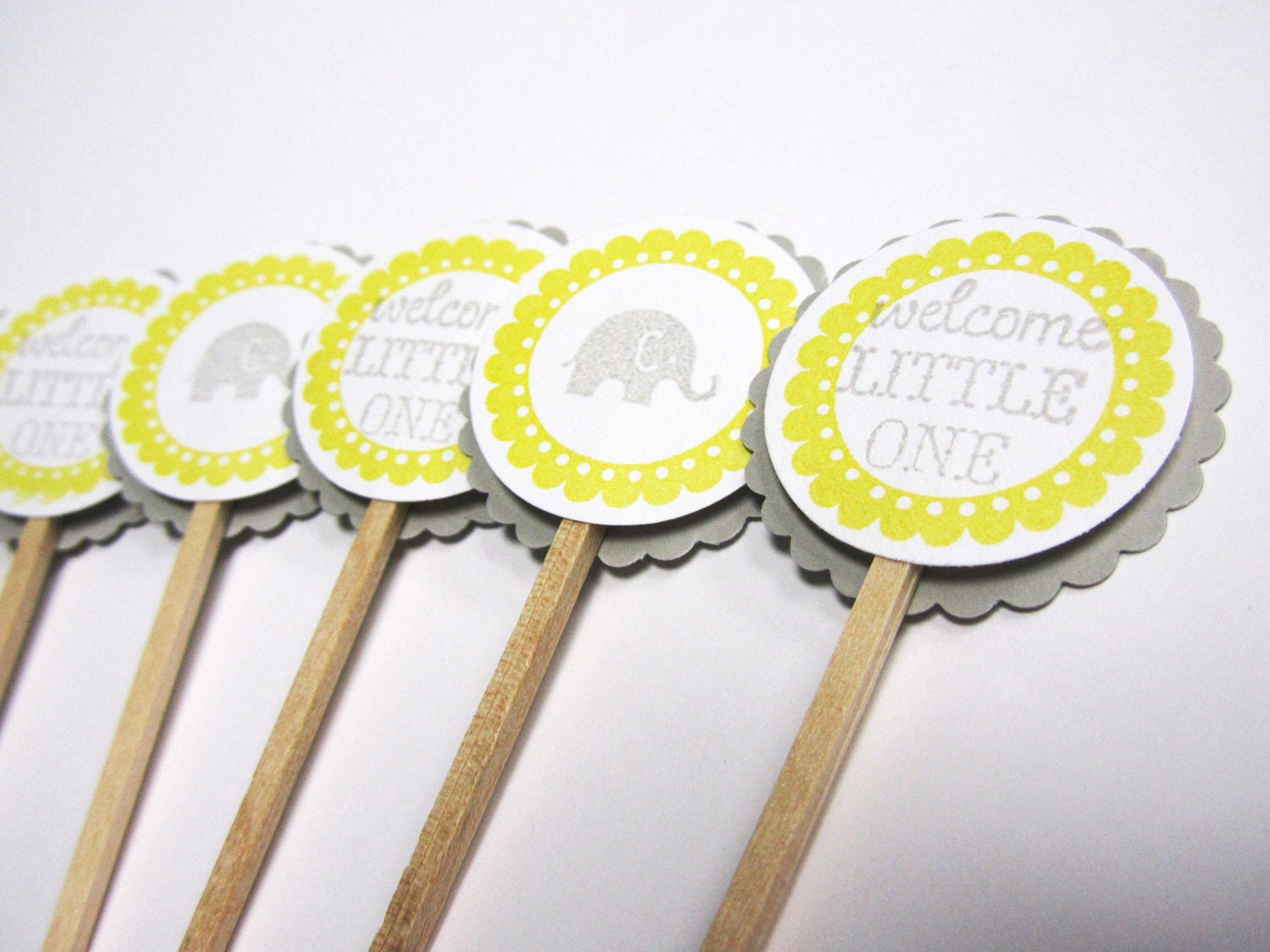 Cake Toppers Baby Shower Etsy : Baby Shower Cupcake Toppers Grey and Yellow by WildBeanlore