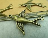 20pcs 27x37mm The Birds Connector Antique Bronze Retro Pendant Charm For Jewelry Bracelet Necklace Charms Pendants C3287