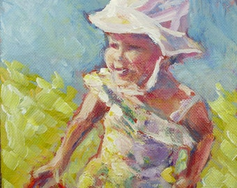 "baby figure Painting - 6 x 6 Original Acrylic on Canvas, ""Summertime Babe"""