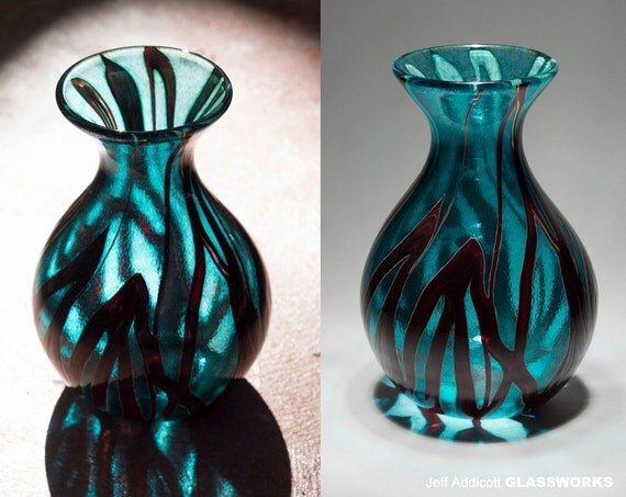 Silver Green and Ruby Hand-Blown Glass Vase