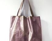 G R A P E Metallic Leather Tote. Essential Tote. Leather Market Tote.