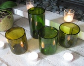 Set of Varying Green Wine Bottle Floating Candle Holders/Vases