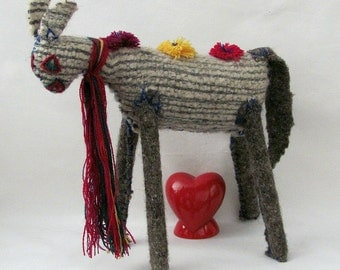 Vintage Handmade Folk - Boho Skinny Legged Felted or Wool Beasty Animal